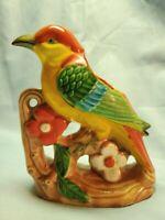 Pottery PARROT PLANTER JAPAN Colorful Bird PEN HOLDER Flowers Red Blue Green
