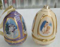 2 Vintage Ceramic Valerie Mr. Christmas Musical Egg Ornament need battery nice