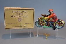 LOUIS MARX SPARKLING SOLDIER MOTORCYCLE TIN WIND UP WITH ORIGINAL BOX