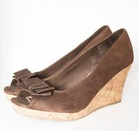 American Eagle Outfitters Womens Brown Bow Open Toe Wedge Heels Size 9