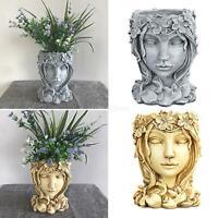 Resin Goddess Head Statue Planter Flower Succulent Pot Vase Container Yard