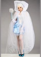Womens Snow Queen White Tulle Net Sheer Cape