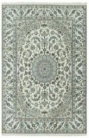"""Hand Knotted Wool Silk Ivory Blue New Fine Nain Oriental Rug Carpet 8' x 11'6"""""""