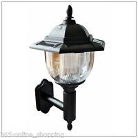 TRADITIONAL SOLAR POWERED LED OUTDOOR GARDEN WALL LANTERN PORCH LIGHT LAMP