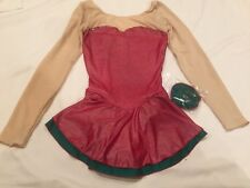 Figure Skating NEW Dress Child 12-14 (adult XS?) Ice Red NWT Christmas Crystals