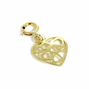 9ct Gold Open Hearts in Heart Clip on Charm Love Charms