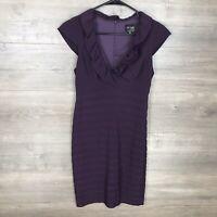 Xscape Womens Size 4P Petite Jersey Cocktail Dress Purple Pleated Ruffle Neck