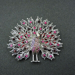 New Rose Pink Crystal Peacock Betsey Johnson Woman Charm Brooch Pin Gift