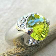 925 Sterling Silver Yellow Citrine White Topaz Wedding Engagement Ring Size: 8