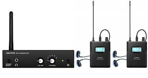 Wireless In-ear Monitor System IEM For performance recording studio (2 Receiver)