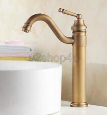 Antique Brass Swivel Spout Bathroom Sink Vessel faucet Basin Mixer Tap Unf205