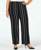 Alfani Women's Pants Black White Size 3X Plus Stretch Striped Pull-On (1181)