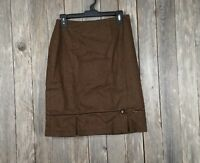 Ann Taylor Loft Womens Skirt Wool Blend Brown Bow Straight Pencil Size 6