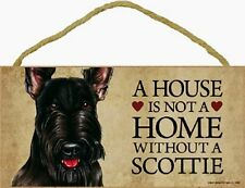 Scottish Terrier Wood Dog Sign Wall Plaque 5 x 10 for Dog Lovers Gift House Bone