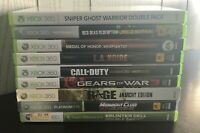 Microsoft Xbox 360 Video Games Lot of 9- Call of Duty, Red Dead, Gears 3, Rage..