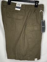"""Men's Hiking Fishing Shorts Elastic Waist Olive Green Architect Size 42/8"""" NWT"""