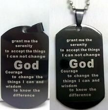 Jesus Bible Stainless Steel Pendant Necklaces 10x Black Serenity Prayer Dog Tag