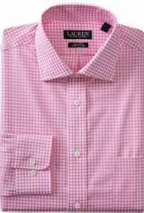Ralph Lauren Men's Regular Fit Ultraflex Gingham Pink Dress Shirt 18 36/37