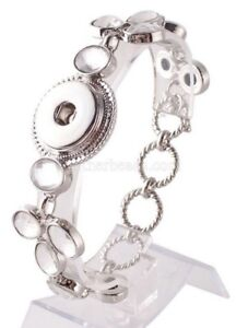 Silver White Crystal 18mm 20mm Snap Charm Bracelet For Ginger Snaps Jewelry