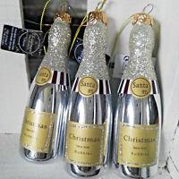 3 x Glas Champagner Flasche Sekt Glitzer Silber Baumschmuck Christbaumkugel
