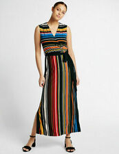 Per Una Multi Striped Tie Detail Maxi Dress Size 16 New