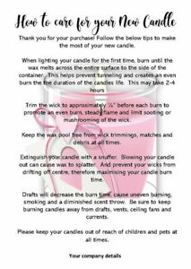 Candle Care Card