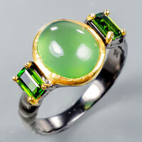 Jewelry for Sale Natural Prehnite 925 Sterling Silver Ring Size 8.5/R125107