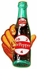 """(3) HAND HOLDS DR PEPPER 10 2 4 BOTTLE 22"""" HEAVY DUTY USA MADE METAL ADV SIGN"""