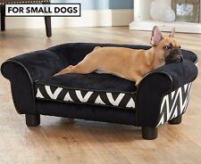 Enchanted Home Plush Couch Pet Bed For Small Dogs - Black