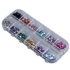 Wholesale 2mm 3000 Nail Art Gems Mixed Colours Shapes in Case Nail Beauty SP