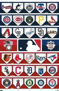 MLB Major League Baseball ALL 30 TEAM LOGOS 2021 Official 22x34 WALL POSTER