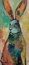 JOSE TRUJILLO Oil Painting JACKRABBIT 12X24 EXPRESSIONISM MODERN SIGNED NR
