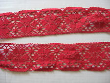 9 1/2 YDS LOVELY VINTAGE RED FLORAL SWISS COTTON CLUNY LACE TRIM EDGE.