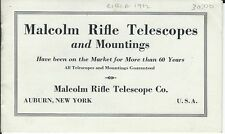 MALCOLM RIFLE TELESCOPES and Mountings / circa 1912