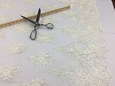 Mesh Lace Fabric Ivory Design Embroider And Beads Sequins-Sold by the yard.