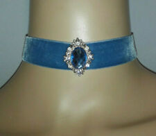 Cornflower Blue Velvet Ribbon Choker with Blue and Gold Diamante Jewel Centre