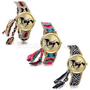 Women's Chic National Weaved Bracelet Cuff Horse Animal Dial Quartz Wrist Watch