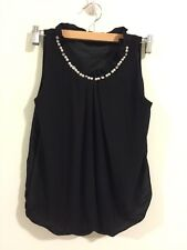 Brand New Korean Style Party Pearl Chiffon Shirt Blouse Vest Top XS