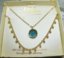 $106 Melinda Maria 18K GP Hunter necklace Blue Topaz & Mackenzie CZ Necklace