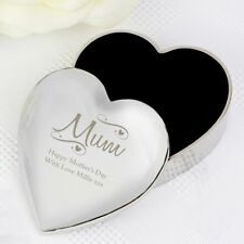 Personalizado Grabado Joyería Caja de la baratija Corazón Día de las Madres Regalo De Navidad