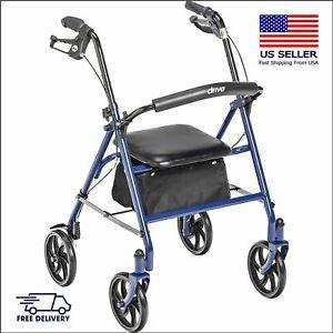 Rolling Walker Folding Rollator Portable Basket Padded Seat Oversized Wheels