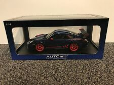 Porsche 911 (997) GT3 RS 3.8 Blue w Red Stripes 1:18 AUTOart neu new blau rot