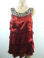 Dressbarn Womens Top L Red Shimmer Cascade Tiered Ruffles Beaded Grecian Neck