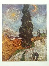 "VINCENT VAN GOGH RARE 1952 LITHOGRAPH PRINT "" ROAD WITH CYPRESS AND STAR "" 1890"