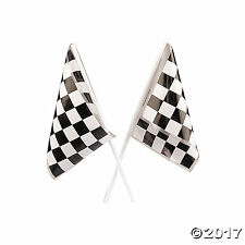 24 Party Favors RACING Nascar Race Car MINI Black White CHECKERED FLAGS