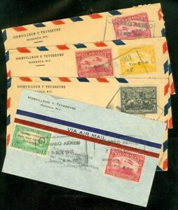 EDW1949SELL : NICARAGUA Four 1941 Air Mail covers to USA.