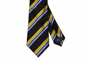 Ralph Lauren Purple Label Mens Hand Made Italy Striped Silk Satin Knit Neck Tie