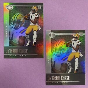 (2) 2021 Panini Chronicles FOTL Illusions Ja'Marr Chase RC Rookie #105 BENGALS