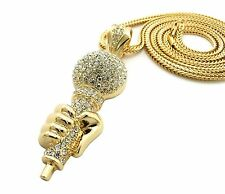 "New Iced Out Holding MIC Pendant &3.5mm/36"" Franco Chain Hip Hop Necklace XP928"