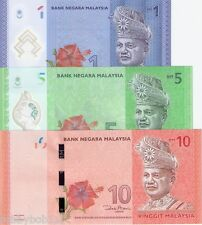 MALAYSIA 3 Note SET 1 2 5 Ringgit Banknote World Money Currency Pick p51-53 2012